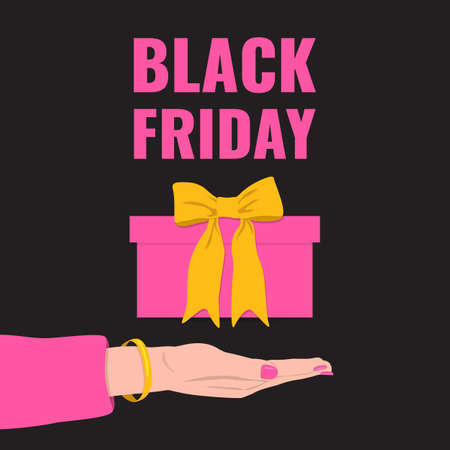 Black Friday banner. Womans hand gives a pink gift with yellow bow.