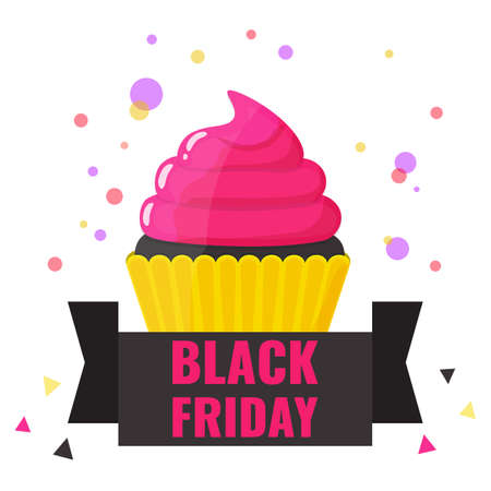 Black Friday banner. Black cupcake with pink cream. Promotion design for bakery, cafe.