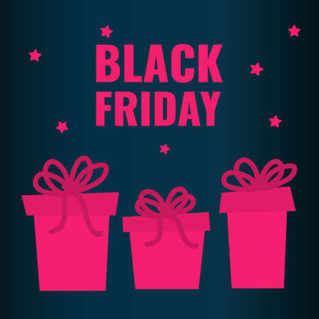 Black Friday banner. Pink gifts with stars on dark background. 일러스트