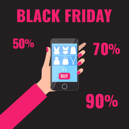 Black Friday banner. Womans hand holding smartphone with shopping app. Promotion campaign concept.