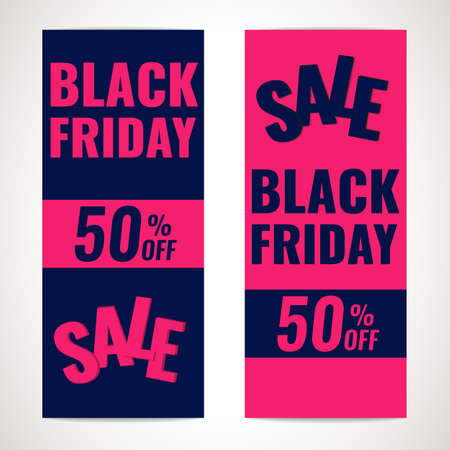 Set of Black Friday banners. Sale 50 OFF concept.