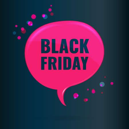Black Friday Sale pink dialog bubble banner on dark background. 일러스트
