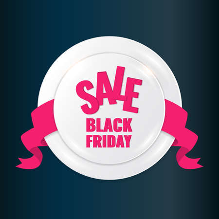 Black Friday Sale circle banner on dark background with pink ribbon.