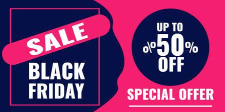 Black Friday banner. Sale 50 OFF concept.