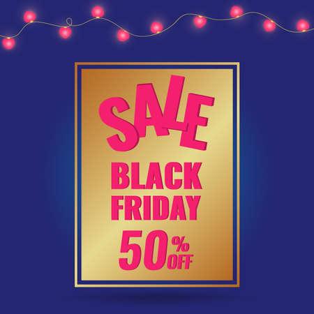 Black Friday Sale golden banner on dark blue background with light festoon.