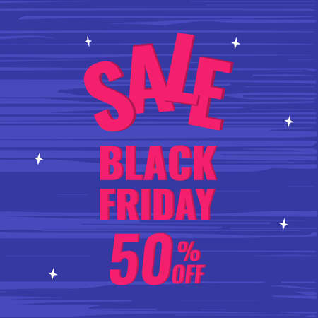 Black Friday promotion banner with blue background. Sale 50 OFF concept.