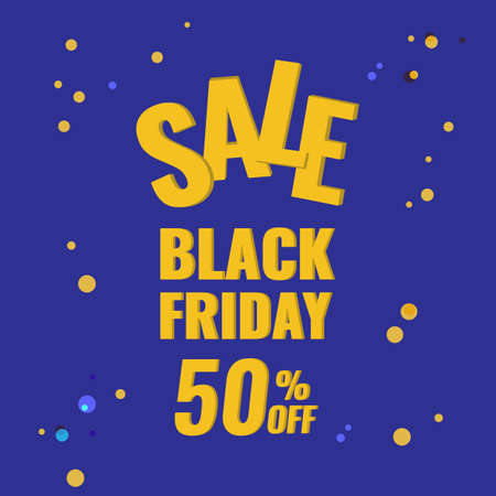 Black Friday discount banner with blue background. Sale 50 OFF concept. 일러스트