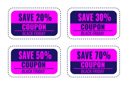 Set of Black Friday coupons. Sale concept for shop.