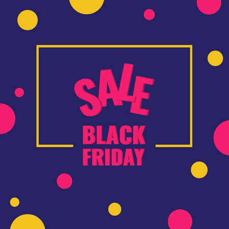 Black Friday discount banner with pink and yellow circles. Sale design concept. 일러스트
