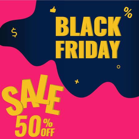 Black Friday discount modern banner. Sale 50 OFF design concept.