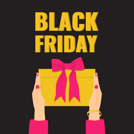 Black Friday banner. Womans hands holding a yellow gift with pink bow.