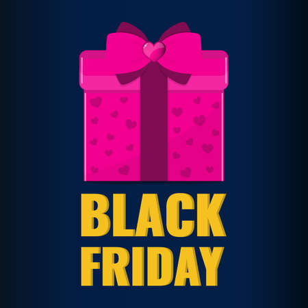 Black Friday banner. Pink gift with pink bow. Sale offer concept.