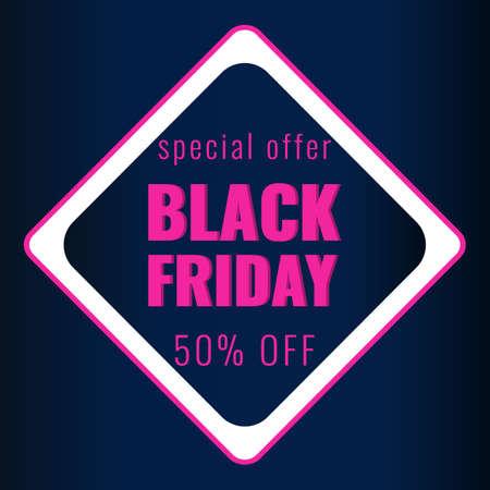 Black Friday discount modern banner with dark background. Sale 50 OFF concept. 일러스트