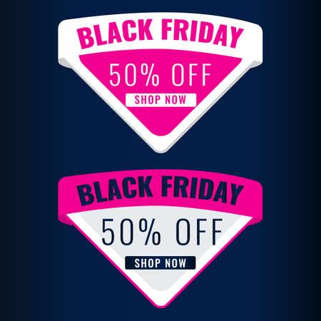 Set of Black Friday discount modern labels with dark background. Sale 50 OFF concept. 일러스트