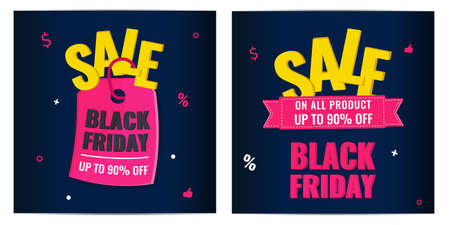 Set of Black Friday event sale modern banners with pink tag on dark background. Advertising campaign concept. 일러스트