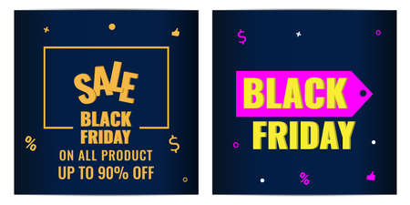 Set of Black Friday event sale banners with dark background. Discount concept.