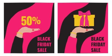 Set of Black Friday event banners. Womans hand with yellow gift with pink bow. We give you a discount concept. 일러스트