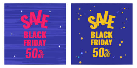 Set of Black Friday discount banner with blue background. Sale 50 OFF concept.