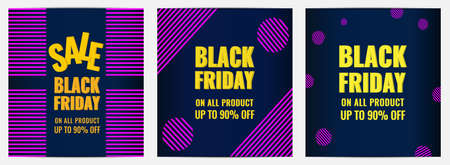 Collection of Black Friday event sale banners with modern graphic design. Discount concept. 일러스트
