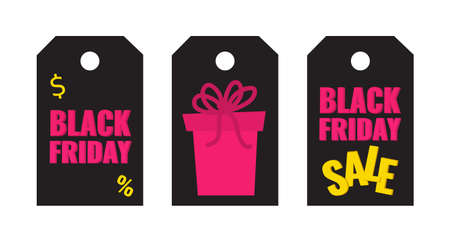 Set of Black Friday event sale tags with pink gift on dark background. Advertising campaign concept. 일러스트