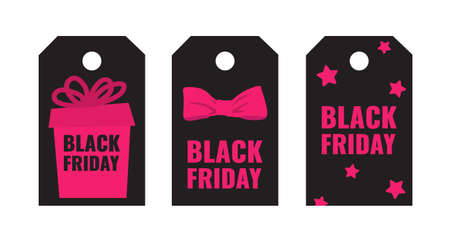 Set of Black Friday event shopping tags with pink gift and bow on dark background. Advertising campaign concept.