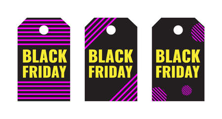 Set of Black Friday event sale tags in modern graphic style. Promotion campaign concept.