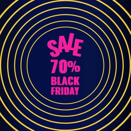 Black Friday promotion modern graphic banner. Sale 70 OFF concept.