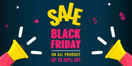 Black Friday event sale modern banner with yellow megaphone on dark background. Advertising campaign concept.