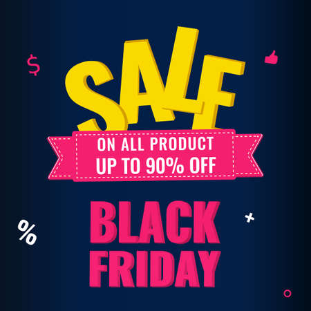 Black Friday event sale modern banner with pink ribbon on dark background. Advertising campaign concept. 일러스트
