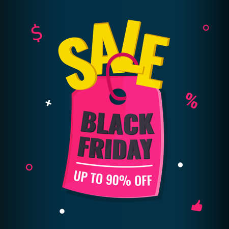 Black Friday event sale modern banner with pink tag on dark background. Advertising campaign concept. 일러스트
