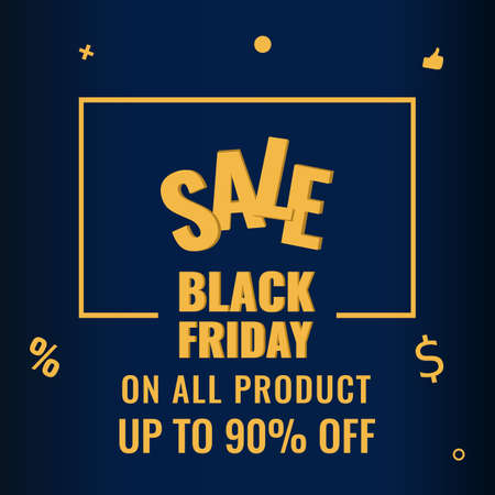 Black Friday promotion modern graphic banner. Sale 90 OFF concept.