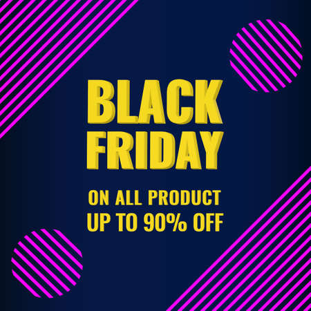 Black Friday promotion modern banner with abstract geometric background. Sale up to 90 OFF concept.