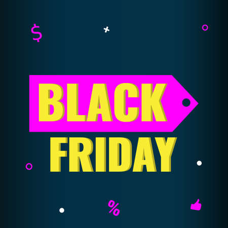 Black Friday event sale banner with pink tag on dark background. Advertising campaign concept. 일러스트