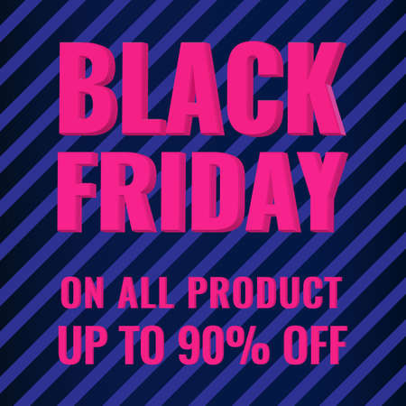 Black Friday promotion modern abstract geometric banner with blue stripes. Sale offer concept.