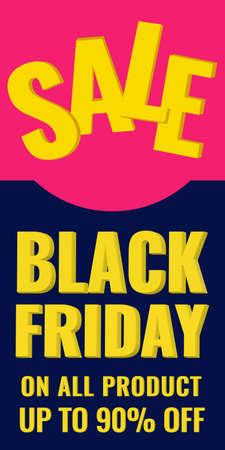 Black Friday discount vertical banner. Sale 90 OFF concept. Vector stock illustration.