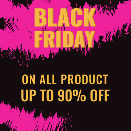 Black Friday promotion abstract banner with pink brush drawing. Sale concept.