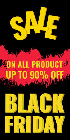 Black Friday Sale vertical banner with abstract black background. Promotion voucher.