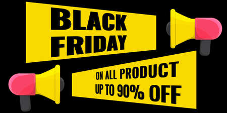 Black Friday event sale modern banner with megaphone on dark background. Advertising campaign concept. 일러스트