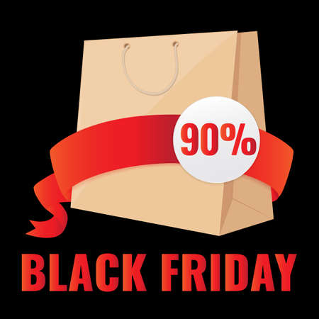 Black Friday Sale banner, shopping bag with red ribbon. Promotion poster. 일러스트