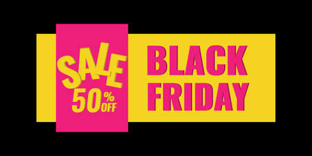 Black Friday sale web banner on dark background. Advertising campaign concept.