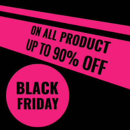 Black Friday Sale modern abstract geometric banner with pink elements. Promotion poster.