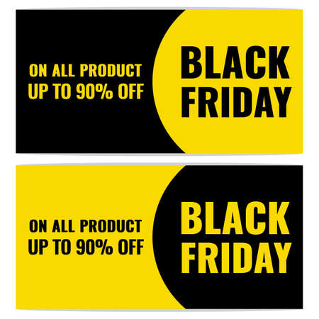 Set of Black Friday Sale modern abstract banner in black and yellow colors. Promotion poster.