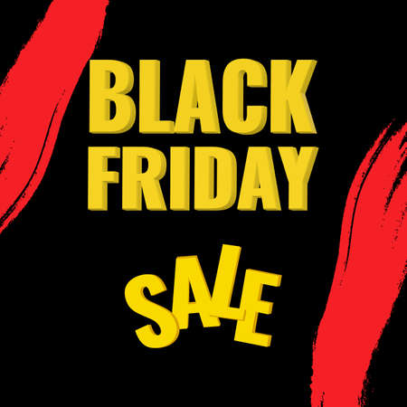 Black Friday promotion abstract banner with red brush drawing. Sale concept. 일러스트