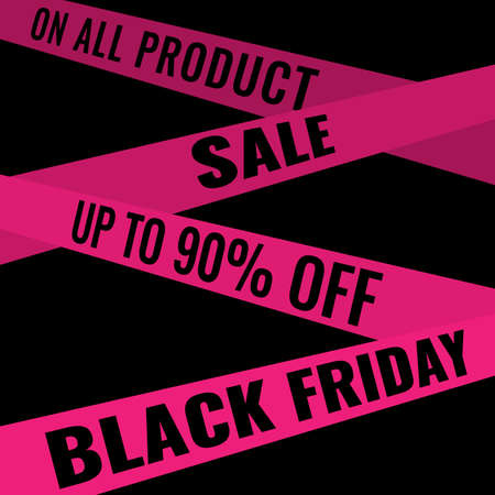 Black Friday event sale modern banner with pink ribbons on black background. Advertising campaign concept. 일러스트