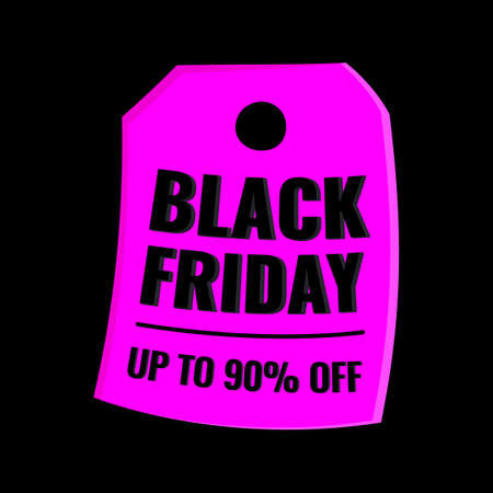 Black Friday event sale modern banner with purple tag on dark background. Advertising campaign concept. 일러스트