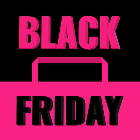 Black Friday Sale banner with pink shopping bag. Promotion poster.