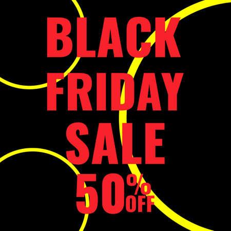 Black Friday promotion modern graphic banner. Sale 50 OFF concept.