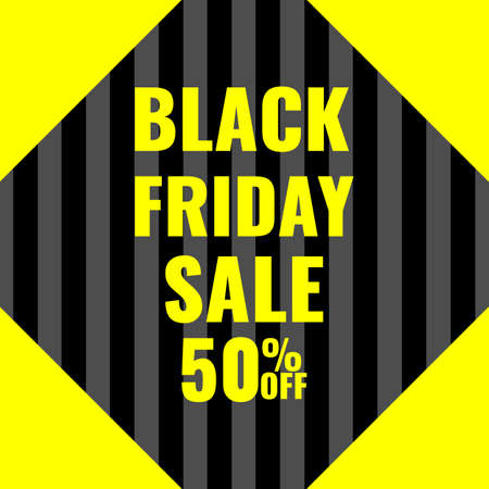 Black Friday promotion modern abstract geometric banner in gray-black colors with yellow accents. Sale offer concept.