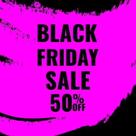 Black Friday promotion abstract banner with pink brush drawing. Promotion poster.