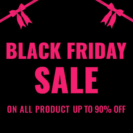 Black Friday event sale modern banner with pink ribbon and bow on black background. Promotion poster. 일러스트